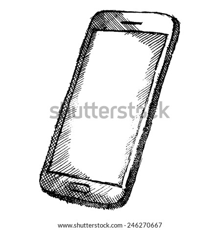 Hand drawn sketch of mobile phone with shadow isolated on white background. - stock vector