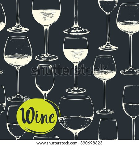 Hand-drawn sketch of wine glass. Seamless glassware background. Glassware pattern. Black and white style. Vintage. - stock vector