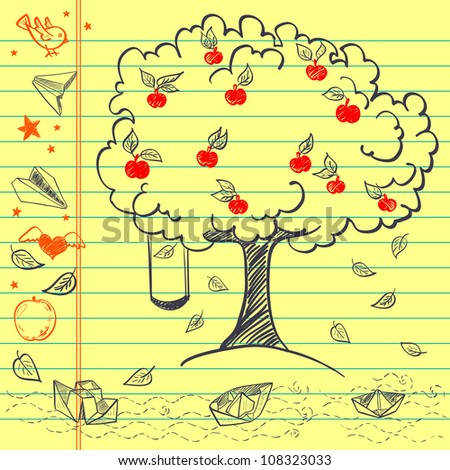 Hand drawn sketch on lined yellow notebook paper. Notebook doodles with paper boats, paper planes, tree, apples, fallen leaves, stars, bird, swing and heart with wings. Vector Illustration. Background - stock vector