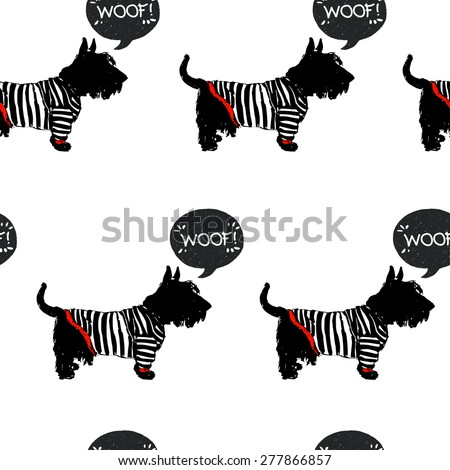 Hand drawn sketch Scottish terrier in a sailor shirt with speech bubble. Seamless pattern with sketchy dogs on white background. - stock vector