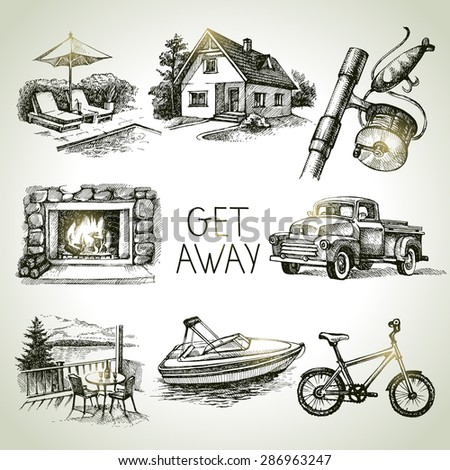 Hand drawn sketch set of family vacation. Vector illustration - stock vector