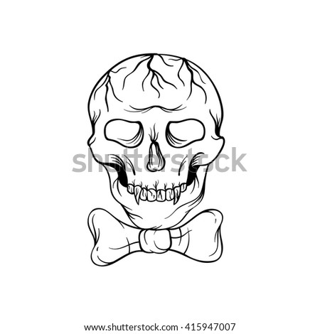 Hand drawn sketch skull with bow tie isolated on a white background. Skull tattoo illustration - stock vector - stock vector