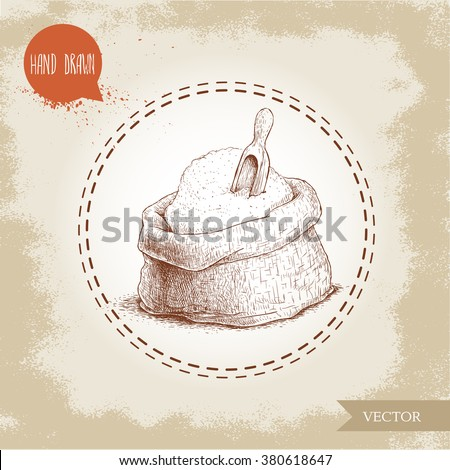 Hand drawn sketch style sack with whole flour and wooden scoop. Bag with sugar, rye flour. Bakery and mill symbol. - stock vector