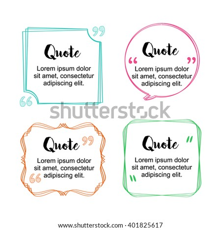 Hand drawn sketches block quote frame (bubble, box) and pull quote elements. Text frame or form template. Business card template, paper sheet, information. Print design. Vector collection (set, pack) - stock vector