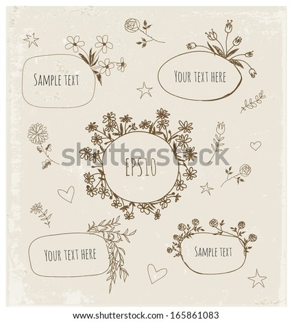 Hand-Drawn Sketchy Borders with Flowers and Plants. Doodles Vector Illustration - stock vector