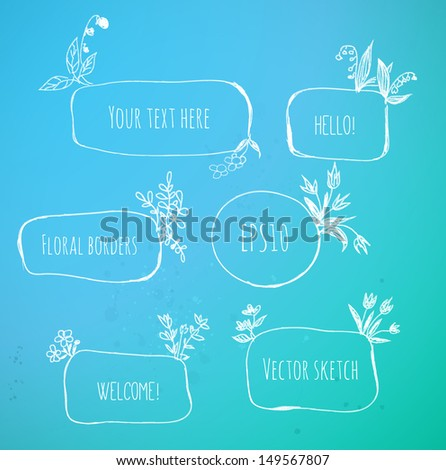 Hand-Drawn Sketchy Borders with Flowers and Plants on blue background. Doodle Vector Illustration  - stock vector