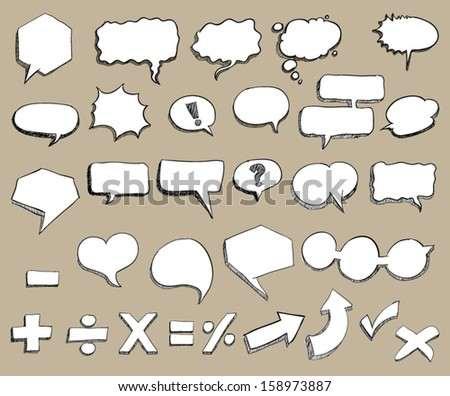 Hand-Drawn Sketchy 3-D Shaped Comic Book Style Speech Bubbles. / can use for promotion / detail / description. - stock vector