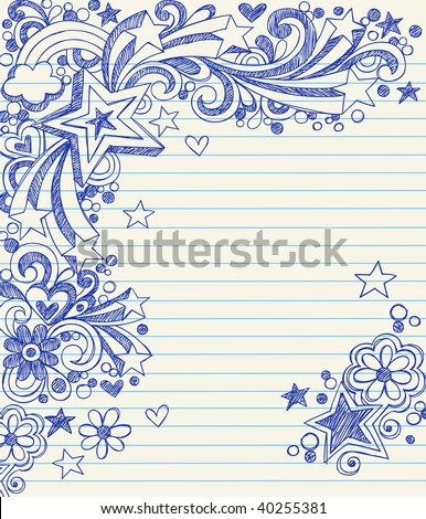 Hand-Drawn Sketchy 3-Dimensional Star Notebook Doodles on Lined Paper Vector Illustration - stock vector