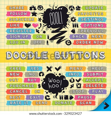 Hand Drawn Sketchy Doodle Buttons Set for your cool project or games - stock vector