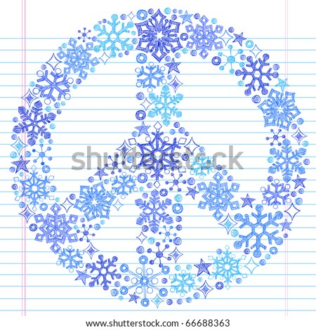 Hand-Drawn Sketchy Doodle Snowflake Peace Sign- Notebook Doodles Vector Illustration Design Elements on Lined Sketchbook Paper Background - stock vector