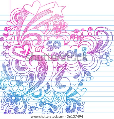 Hand-Drawn Sketchy Doodles on Lined Notebook Paper Vector - stock vector