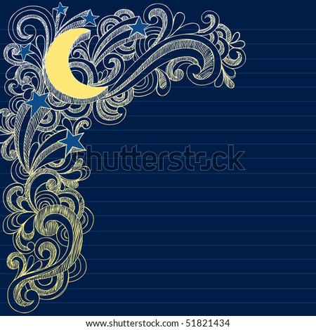 Hand-Drawn Sketchy Moon, Stars, and Swirls Notebook Doodles- Vector Illustration on Lined Sketchbook Paper Background - stock vector