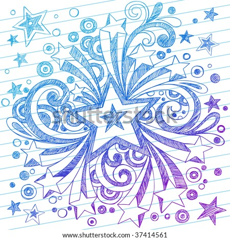 Hand-Drawn Sketchy Notebook Starburst Doodles on Lined Paper Background - stock vector