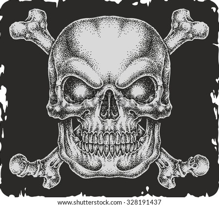 Hand-drawn skull with bones. - stock vector