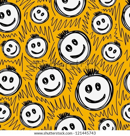 Hand drawn smiling emoticons, Seamless pattern. - stock vector