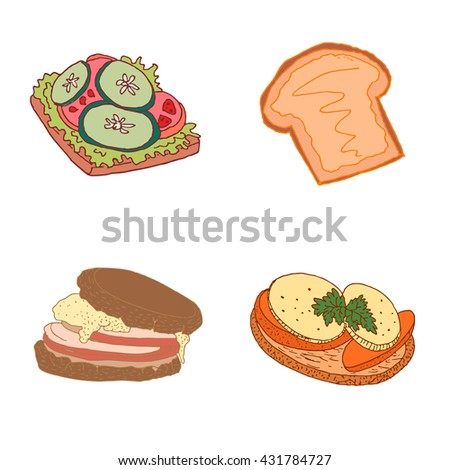 Hand drawn snacks. Healthy vegetarian sandwiches with cucumber, tomato, lettuce, bread, egg omelet, peanut butter. Fresh diet delicious food with vegetable. Vector illustration of snacks. - stock vector