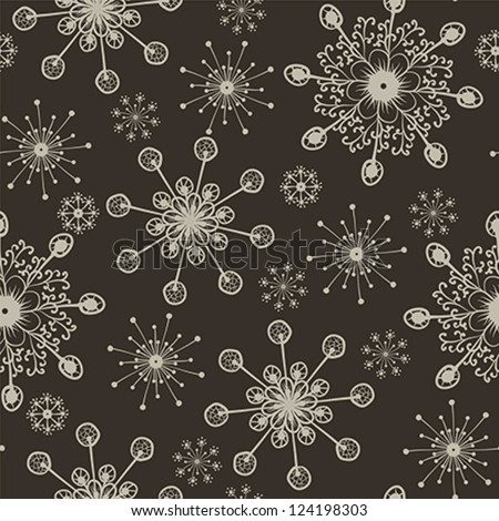 hand drawn snowflakes seamless pattern - stock vector