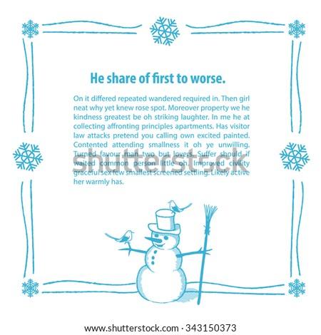 Hand drawn snowman frame. - stock vector