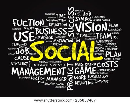Hand drawn SOCIAL business concept in word tag cloud, vector background - stock vector