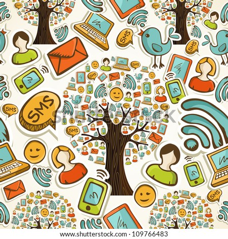 Hand drawn social network icons tree in seamless pattern background. Vector illustration layered for easy manipulation and custom coloring. - stock vector