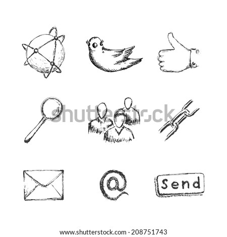 Hand drawn social network icons with links twitter bird mail like hand chain links people chat global network  and other - stock vector