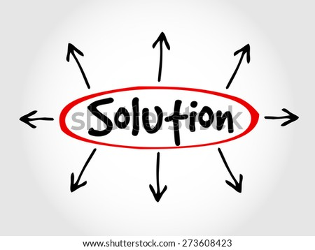Hand drawn Solution, business concept - stock vector