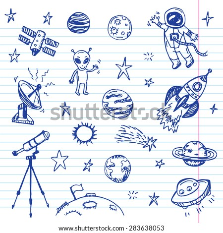 Hand drawn space doodle set - stock vector