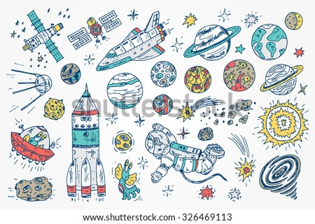 Hand drawn Space doodle Vector Set. - stock vector