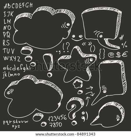 Hand Drawn Speech And Thought Bubbles With Alphabet - stock vector