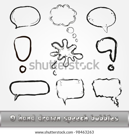 hand drawn speech bubbles, EPS 10 - stock vector