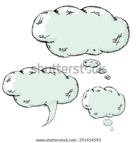 hand drawn speech bubbles set - stock vector