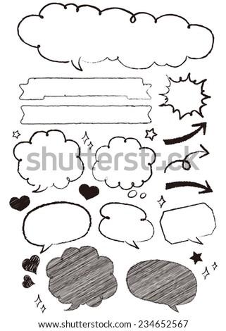 Hand-drawn speech bubbles set Vector - stock vector