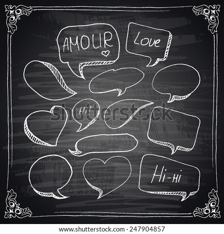 Hand drawn speech bubbles with hearts, chalkboard effect. Vector illustration. - stock vector