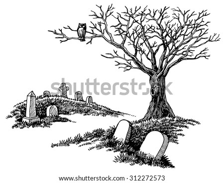 Hand-drawn spooky graveyard with tombstones and tree with an owl. - stock vector