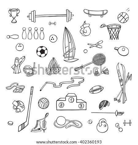 Hand drawn sport equipment. Doodle icons. - stock vector
