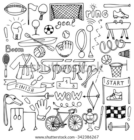 Hand drawn Sport equipment set. Vector illustration of doodle sport elements for backgrounds, textile prints, web and graphic design - stock vector