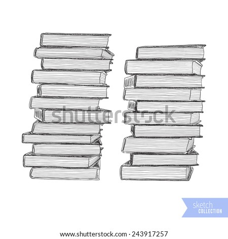 Hand drawn stack of books. Black outline on white background. Vector illustration. - stock vector