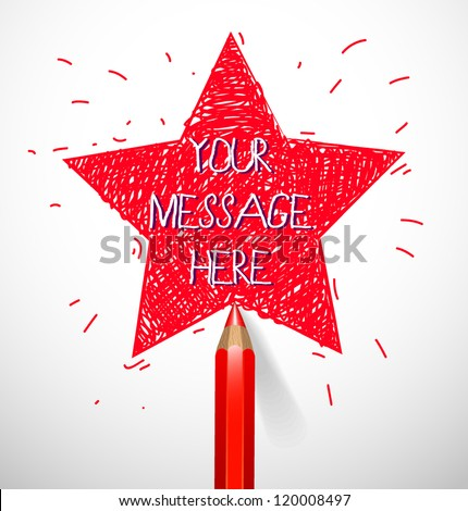 Hand drawn star shape with pencil - vector illustration for your business presentations. - stock vector