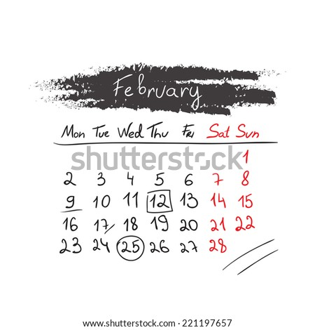 Hand drawn style calendar February 2015. Vector illustration - stock vector