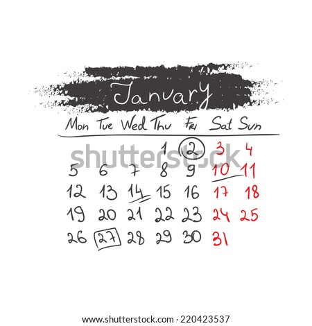 Hand drawn style calendar January 2015. Vector illustration - stock vector