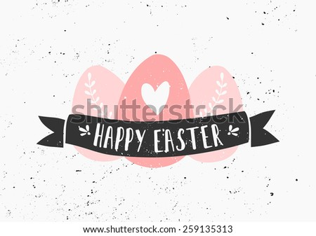 Hand drawn style easter eggs and banner greeting card template. - stock vector