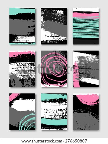 Hand drawn style greeting card templates in black, white and gray with neon pink and blue elements. Abstract brush strokes and ink doodle designs with copy space. EPS 10 file, gradient mesh used. - stock vector