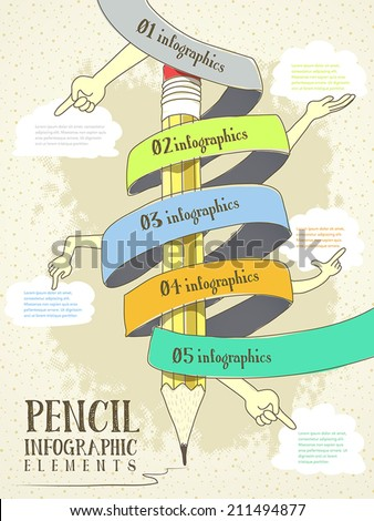 hand drawn style infographic with pencil, hand and ribbon elements flow chart - stock vector