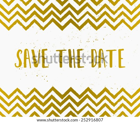 Hand drawn style Save the Date card in gold and white. - stock vector