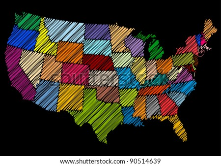 Hand Drawn Style USA Map Sketch (Vector) - stock vector