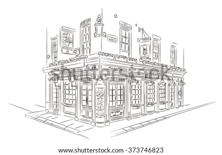 Hand Drawn Style Vector Sketch. Pub, London - stock vector