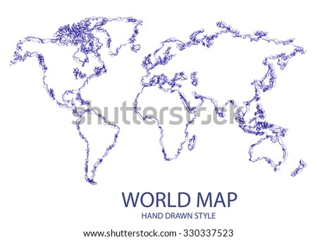 Hand Drawn Style World Map - stock vector
