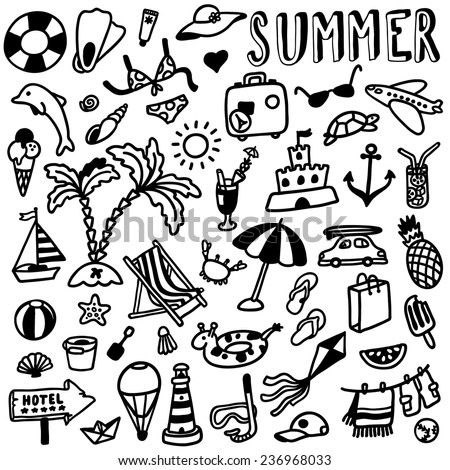 hand-drawn summer doodles - stock vector