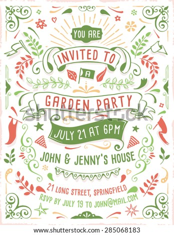 Hand drawn summer party invitation template with ribbons, flowers and ornaments. Just add your own text.  - stock vector
