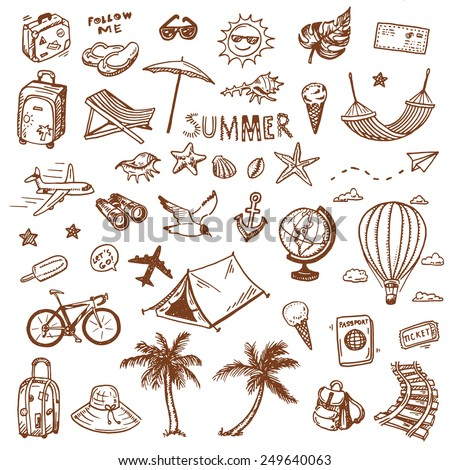 Hand drawn summer time icons set. Travel collection. - stock vector